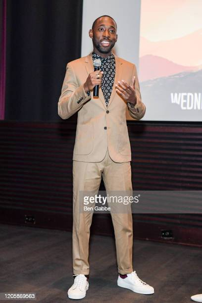 Whiskey cast member Jeremy Tardy speaks during the Paramount Network 68 Whiskey USO Screening Event at ViacomCBS NYC Headquarters on February 12 2020...