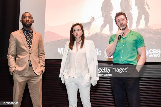 68 Whiskey cast members Jeremy Tardy Cristina Rodlo and Sam Keeley speak during the Paramount Network 68 Whiskey USO Screening Event at ViacomCBS NYC...