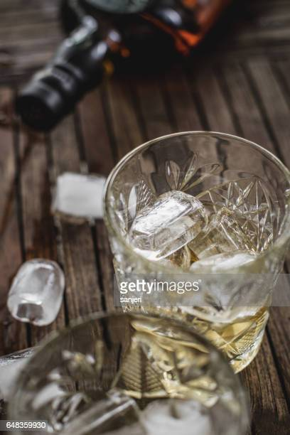 Whiskey in a Glass With Ice Cubes