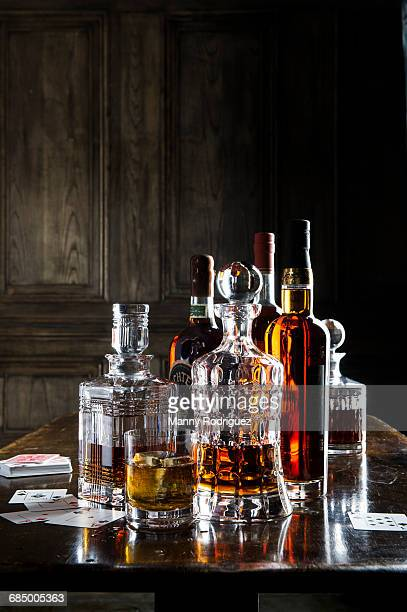 Whiskey in crystal decanters