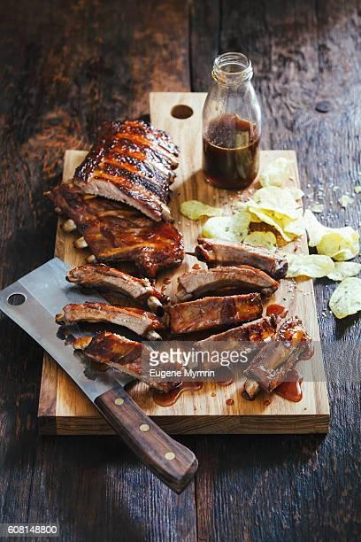 whisky caramel pork ribs - sparerib stock photos and pictures