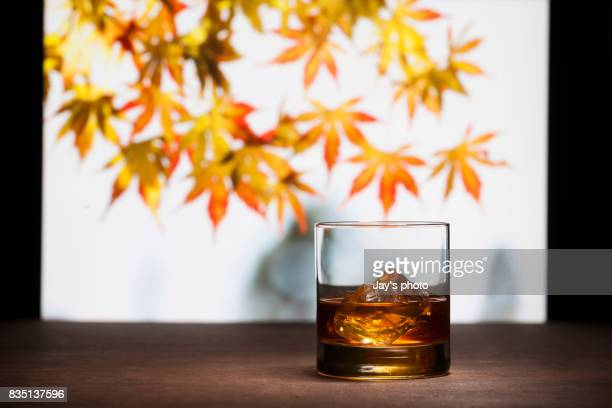 whisky in maple leaf background - bourbon whisky foto e immagini stock