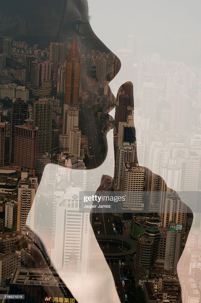 whispering girl,double exposure,shenzhen : Stock Photo