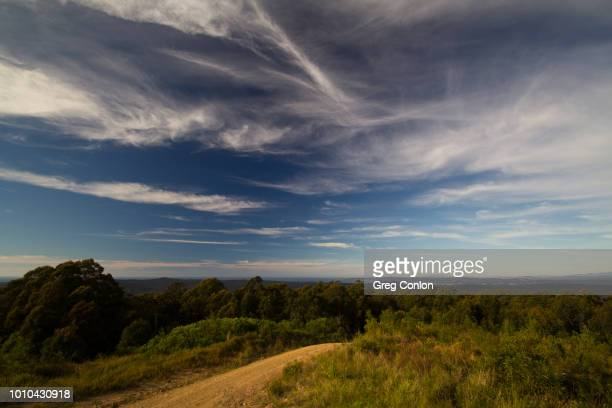 whispy white clouds on a blue sky from a hilltop - wispy stock photos and pictures