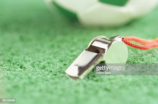 Whistle on green ground, close-up