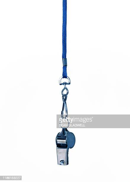 whistle on cord - whistle stock pictures, royalty-free photos & images