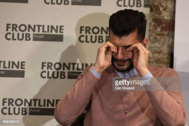 Whistleblower Shahmir Sanni begins to cry during a press conference at the Frontline Club on March 26 2018 in London England Former Vote Leave...