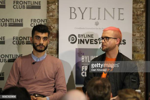 Whistleblowers Shahmir Sanni and Christopher Wylie speak during a press conference at the Frontline Club on March 26 2018 in London England Former...