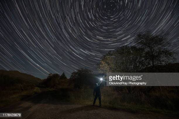 whistlefield hill star trail - north star stock pictures, royalty-free photos & images