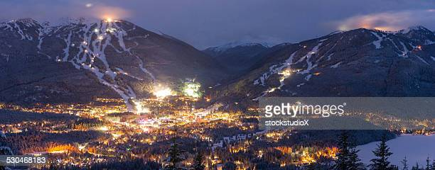 whistler blackcomb at dusk - whistler british columbia stock pictures, royalty-free photos & images
