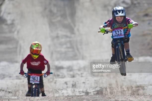 whistler crankworx kids mountain bike race - cycling event stock pictures, royalty-free photos & images