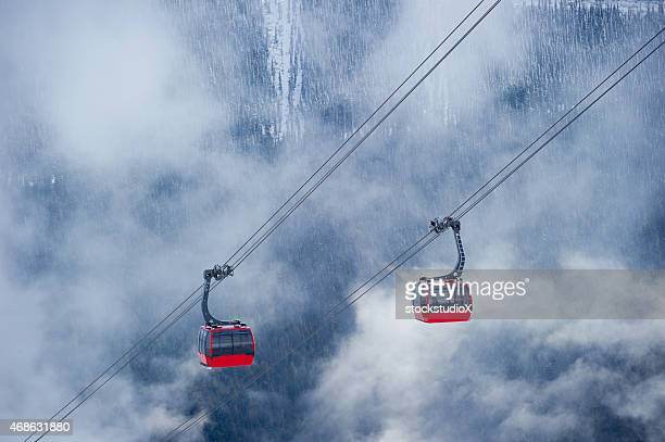 whistler ski resort in winter - two objects stock photos and pictures