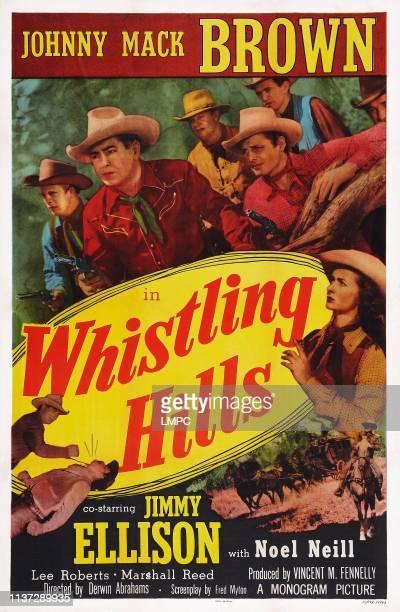 Whistling Hills, poster, poster art, foreground top l-r: Johnny Mack Brown, James Ellison, bottom right: Noel Neill, 1951.