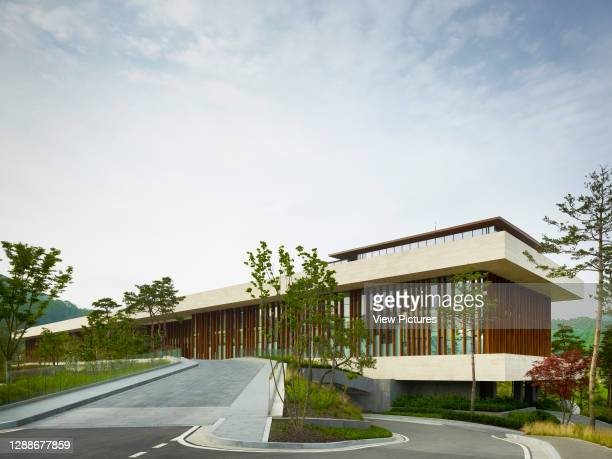 Whistling Rock Golf Clubhouse, Chuncheon, Korea, South. Architect: Mecanoo, 2012. Approach to clubhouse.