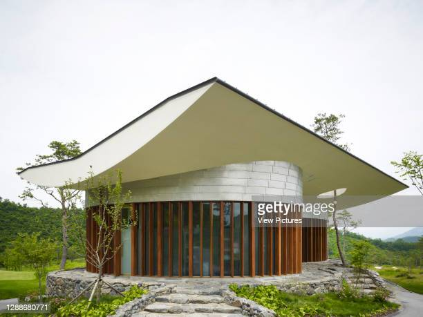 Whistling Rock Golf Clubhouse, Chuncheon, Korea, South. Architect: Mecanoo, 2012. Sculptural tea house located on site.