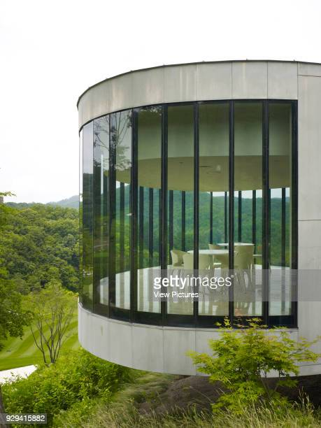 Whistling Rock Golf Clubhouse Chuncheon Korea South Architect Mecanoo 2012 Detail of curved and cantilever tea house facade