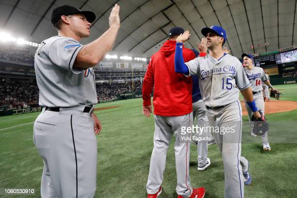 Whit Merrifield of the Kanas City Royals celebrate after the MLB AllStars defeated Team Japan 73 during the Japan AllStar Series game at the Tokyo...