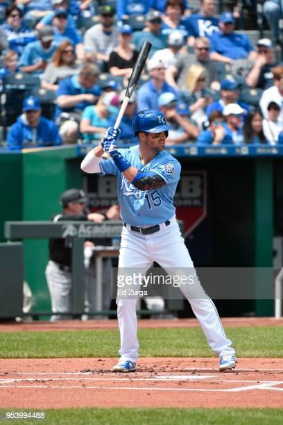 Whit Merrifield of the Kansas City Royals bats against the Chicago White Sox at Kauffman Stadium on April 29 2018 in Kansas City Missouri Whit...