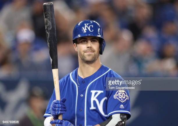 Whit Merrifield of the Kansas City Royals during his at bat during MLB game action against the Toronto Blue Jays at Rogers Centre on April 17 2018 in...