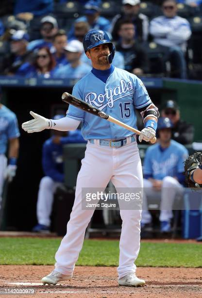 Whit Merrifield of the Kansas City Royals reacts after an out during the game against the Seattle Mariners at Kauffman Stadium on April 11 2019 in...