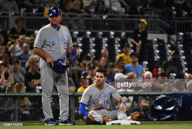 Whit Merrifield of the Kansas City Royals reacts after being caught stealing for the final out in the fifth inning during the game against the...