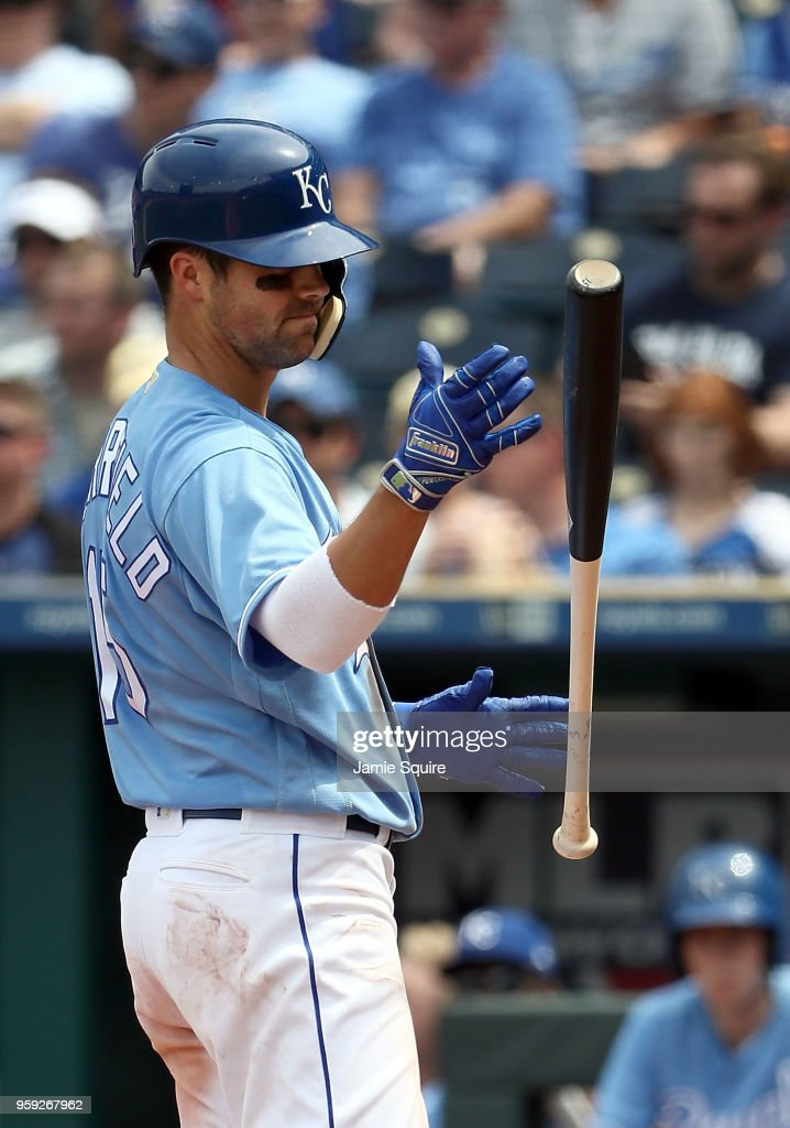 Whit Merrifield #15 of the Kansas City Royals reacts after striking out during the 5th inning of the game against the Tampa Bay Rays at Kauffman Stadium on May 16, 2018 in Kansas City, Missouri.
