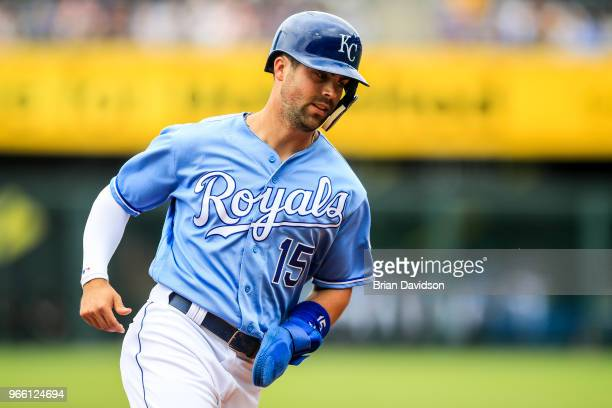 Whit Merrifield of the Kansas City Royals runs past third base during the first inning against the Oakland Athletics at Kauffman Stadium on June 2...