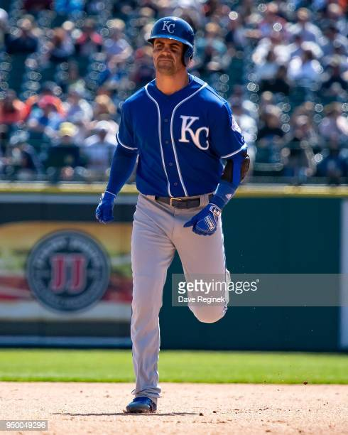 Whit Merrifield of the Kansas City Royals runs the bases after hitting a solo home run in the sixth inning against the Detroit Tigers during a MLB...