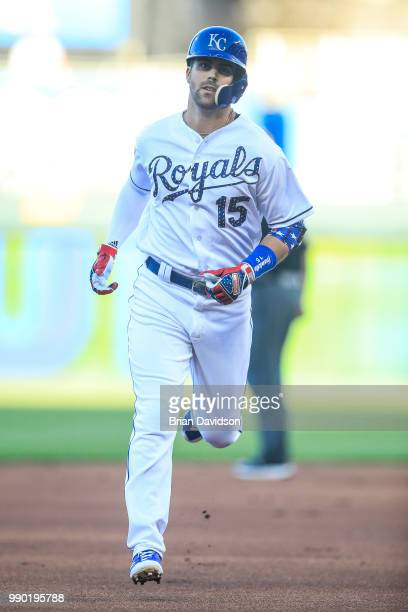 Whit Merrifield of the Kansas City Royals runs the bases after hitting a home run against the Cleveland Indians during the first inning at Kauffman...