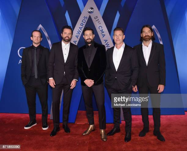 Whit Sellers Brad Tursi Matthew Ramsay Trevor Rosen and Geoff Sprung of Old Dominion attend the 51st annual CMA Awards at the Bridgestone Arena on...