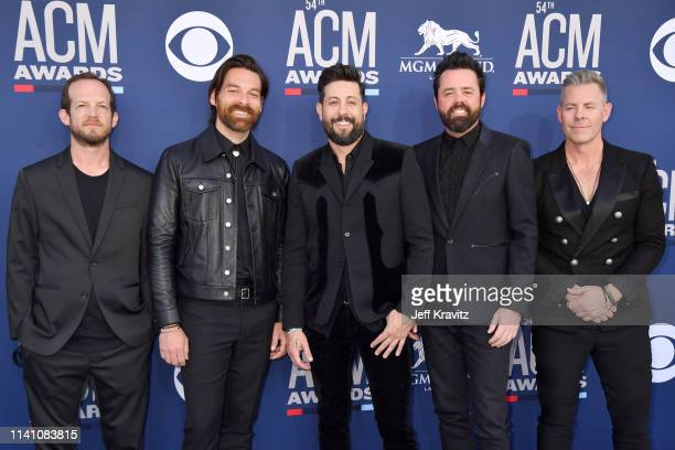 Whit Sellers Geoff Sprung Matthew Ramsey Brad Tursi and Trevor Rosen of Old Dominion attends the 54th Academy Of Country Music Awards at MGM Grand...