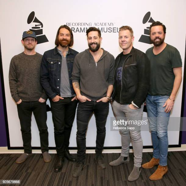 Whit Sellers Geoff Sprung Matthew Ramsey Trevor Rosen and Brad Tursi of Old Dominion attend The Drop Old Dominion at The GRAMMY Museum on February 28...