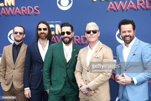 Whit Sellers Geoff Sprung Matthew Ramsey Trevor Rosen and Brad Tursi of musical group Old Dominion attend the 53rd Academy of Country Music Awards at...