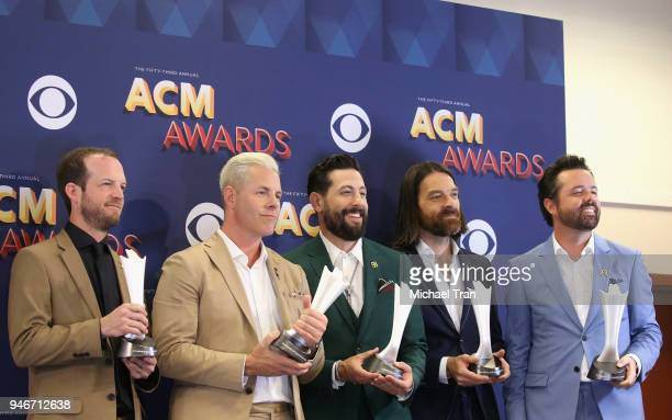 Whit Sellers Trevor Rosen Matthew Ramsey Geoff Sprung and Brad Tursi of Old Dominion Vocal Group of the Year pose in the press room during the 53rd...