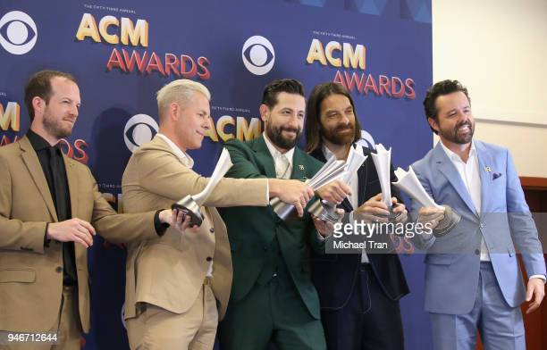 Whit Sellers Trevor Rosen Matthew Ramsey Geoff Sprung and Brad Tursi of Old Dominion Vocal Group of the Year and Album of the Year winners pose in...