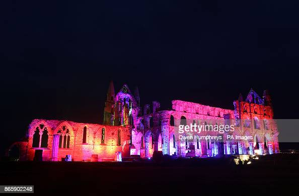 Whitby Abbey In North Yorkshire Is Lit Up Lights To