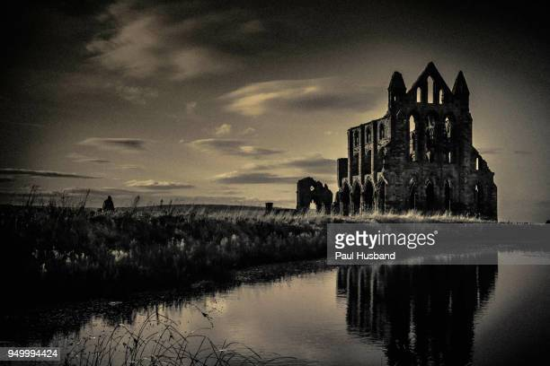 whitby abbey near sunset - count dracula stock photos and pictures