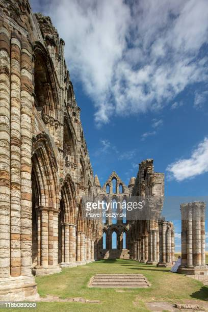 whitby abbey ruins - destroyed during the dissolution of the monasteries in 16th century, whitby, england, 2018 - head of state stock pictures, royalty-free photos & images