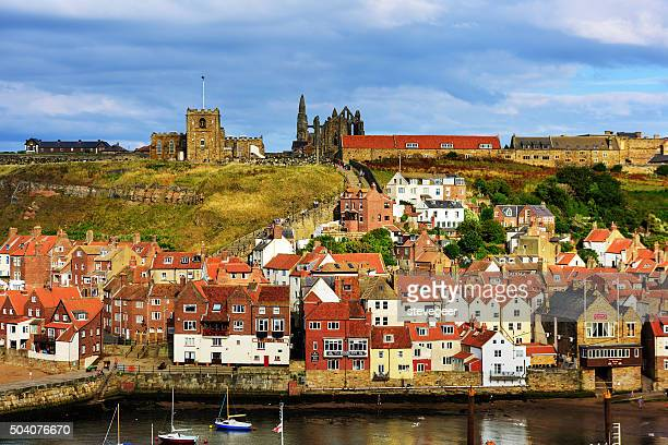 whitby  church, town and abbey, north yorkshire - whitby north yorkshire england stock photos and pictures