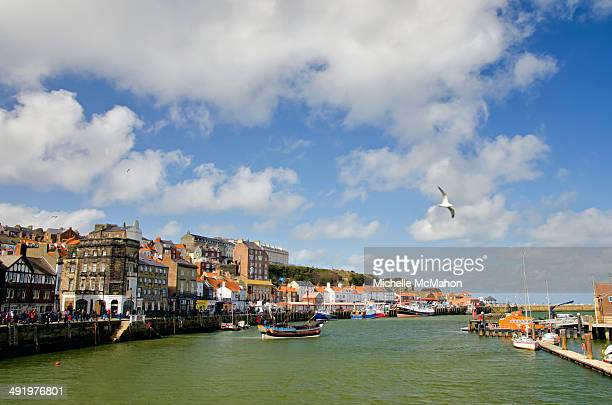 whitby harbour and town - whitby north yorkshire england stock pictures, royalty-free photos & images