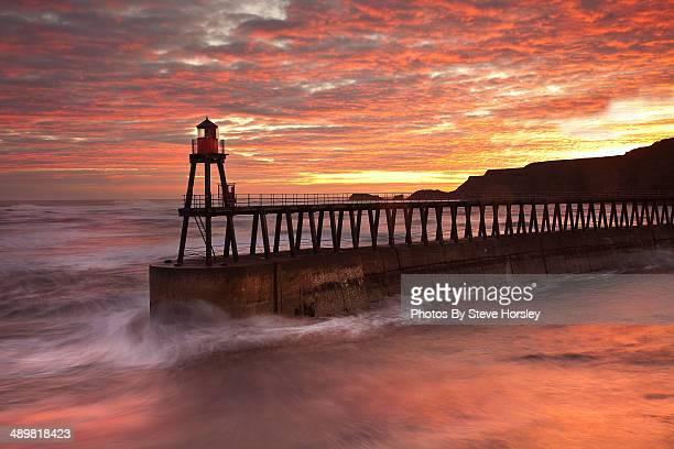 Whitby Pier at sunrise