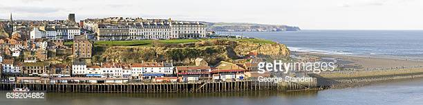 whitby pier, north yorkshire. - whitby north yorkshire england stock pictures, royalty-free photos & images