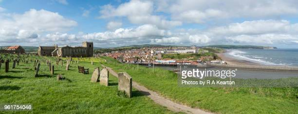 whitby seen from st mary's church, north yorkshire, england - whitby north yorkshire england stock pictures, royalty-free photos & images