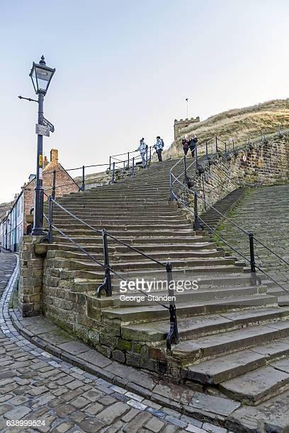 whitby steps - whitby north yorkshire england stock photos and pictures