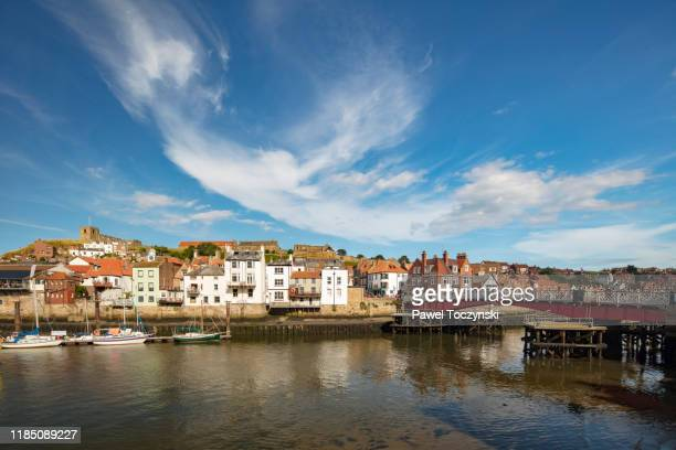 whitby waterfront in yorkshire, england, 2018 - north yorkshire stock pictures, royalty-free photos & images