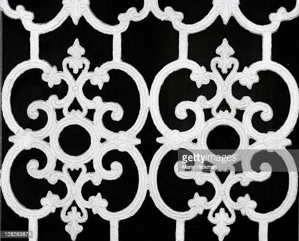 white 1950s style iron gate - vero beach stock pictures, royalty-free photos & images