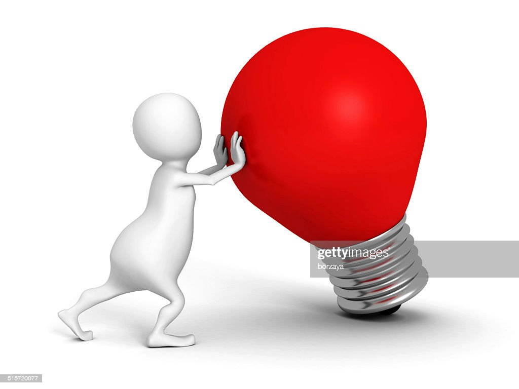 White 3d Person With Red Idea Light Bulb Stock Photo
