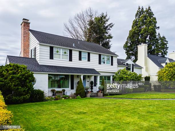 white american colonial style house exterior - colonial style stock pictures, royalty-free photos & images