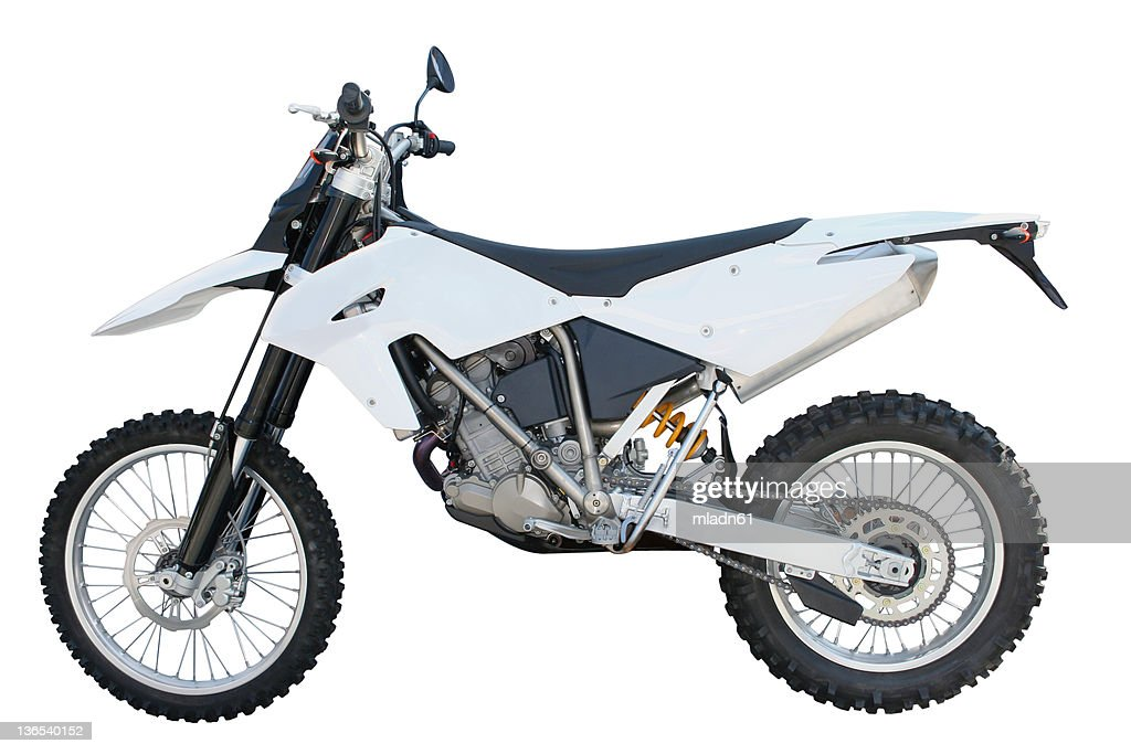White and black dirt bike over a white backgound : Stock Photo