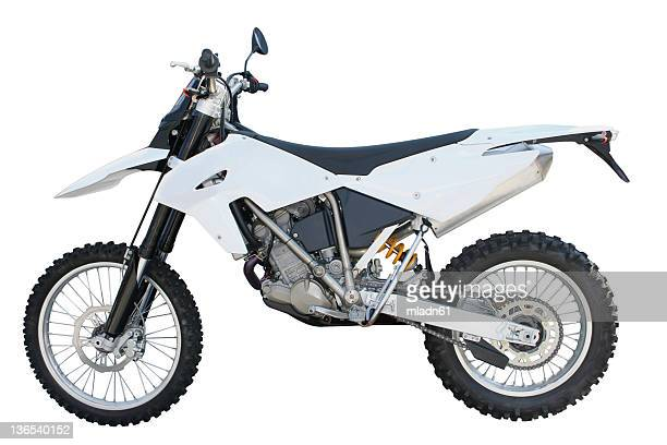 white and black dirt bike over a white backgound - scrambling stock photos and pictures